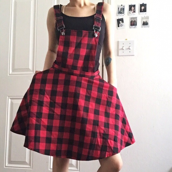 43319d15cf Plaid overall dress. NWT. Hot Topic